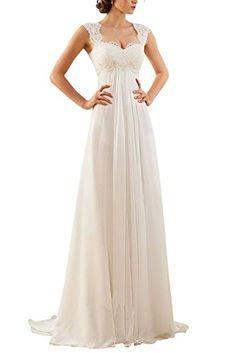 Erosebridal Ärmellos Spitze Chiffon Hochzeitskleid Brautkleid Elfenbein DE32