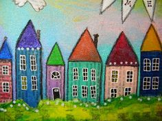 Home art mixed media art whimsical art houses village Projects For Kids, Art Projects, Project Ideas, Collage Techniques, Paint Techniques, Collage Making, Small Paintings, Abstract Paintings, Mixed Media Collage