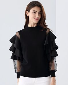 #VIPme 2017 Black Ruffle Illusion Fashion Blouse Top ❤️ Get more outfit ideas and style inspiration from fashion designers at VIPme.com.