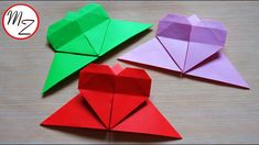 Easy origami bookmark heart (bookmark making tutorial) | Paper crafts | ...