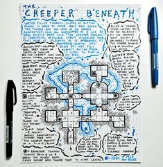 One Page Horror Dungeon - The Creeper Beneath Dungeon Tiles, Dungeon Maps, Dungeons And Dragons Game, Dungeons And Dragons Homebrew, Fantasy Map Making, Pen & Paper, Sword And Sorcery, Map Design, Fantasy Rpg