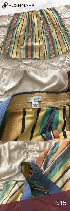 ❣️Pick 3 for $12 Anthropologie Odille skirt Odille multicolor used knee length skirt. Size 6. 55% linen 45% cotton. Casual and cute and has two pockets! Anthropologie Skirts