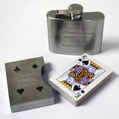 Makes great #groomsmen gifts! #wedding  Stainless Steel Flask with Playing Card Set #thingsengraved #thingsengravedgifts
