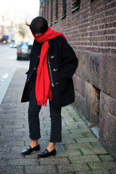 Red Scarf + Black Coat | LA COOL & CHIC