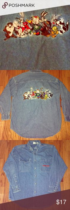 90s Looney Toons Denim Button Down This is a rare vintage item! It's embroidery is in mint condition. Perfect for my 90s babies out there who wanna bring their childhood back to life in a real swagged out way. All buttons still in tact. Over sized fit (I am normally a size M/L for anything oversized, and this still wasn't too big for me). Tag says medium but it's really an XL. No rips, stains, or tears. Smoke free, pet free home  price firm! Acme Clothing Tops Button Down Shirts