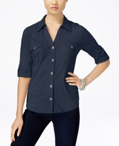 Style & Co Petite Jersey Utility Shirt, Only at Macy's - Blue P/XL