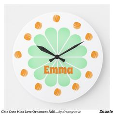 Chic Cute Mint Love Ornament Add Name Clock Playroom Decor, Nursery Decor, Holiday Cards, Christmas Cards, Everything Baby, Christmas Card Holders, Hand Sanitizer, Keep It Cleaner, Mint