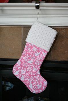 Holidays CHRISTMAS STOCKING  Doves on Pink by bebesniklefritz, $26.00