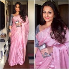 Vidya Balan's new film 'Begum Jaan' saw her promoting the film in a variety of saree looks. For one of the events, she did a pink handwoven saree by . Indian Dresses, Indian Outfits, Indian Clothes, Divas, Modern Saree, Simple Sarees, Plain Saree, Saree Look, Casual Saree