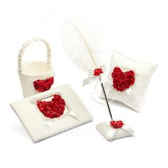 Wedding Ceremony Collection Set - $46.99 - Collection Set in Satin With Petals (100017957) http://jjshouse.com/Collection-Set-In-Satin-With-Petals-100017957-g17957