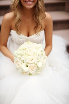 Beautiful Blooms - Ivory Bouquet with Rhinestone Stephanotis Accents