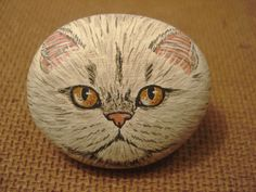 White+Persian+portrait+hand+painted+on+a+rock+-+miniature+-+by+Ann+Kelly+#Realism