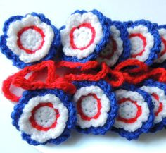 Crochet Flower Garland Red White and Blue £10.00
