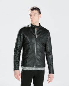 ZARA - SALE - FAUX LEATHER JACKET WITH TOP STITCHING