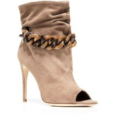 Burberry Punterel Chain Open Toe High Heel Booties ($1,195) ❤ liked on Polyvore featuring shoes, boots, ankle booties, dark heather, high heel boots, open toe booties, open-toe boots, leather sole boots and pull on boots