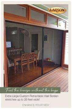 Larson Retractable Wall Screens are the ideal solution for large door and window openings allowing you to enjoy the breeze without letting insect in. Home Renovation, Home Remodeling, Outdoor Rooms, Outdoor Living, Backyard Patio, Backyard Covered Patios, My Pool, Pleated Fabric, My Dream Home