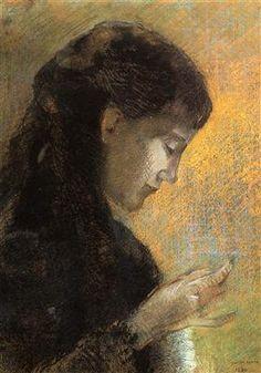 Portrait of Madame Redon Embroidering - Odilon Redon - 1880