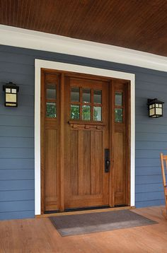 Tuscany w/ Sidelights - Clear Beveled Glass Photographed by: Cristina (Avgerinos) McDonald Craftsman Exterior Door, Craftsman Front Doors, Exterior Front Doors, House Paint Exterior, Exterior House Colors, Entry Doors, Exterior Design, Entry Door With Sidelights, Entryway