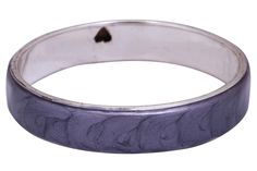 Bulk Wholesale Handmade Metal Bangle in Silver Color Finish with Abstract Patterns in Light-Purple Color on the Outer Side – Adorned with Two Black Hearts on the Inner Side – Stylish Jewelry from India