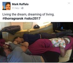 Post by Mark Ruffalo on fb which I believe to be Tom Hiddleston, Mark Ruffalo, and Chris Hemsworth catching a quick nap. This may be one of the best pics ever taken. <3
