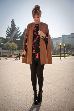 tan and orange, love the opaque tights with the whole look