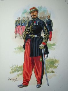 Officer, Regiment of Zouaves, Imperial Guard, 1870 (P.Lourcelle). Napoleon III's Imperial Guard included, from March 1855, one regiment of Zouaves, raised by drafts from the 3 line Zouave regiments. The new regiment served with distinction in the remainder of the Crimean War, in the Italian War of 1859; and, in the Franco-Prussian War, fought bravely at Rezonville/Mars-la-Tour (16 Aug. 1870), but was later encircled in Metz with the rest of the Guard.