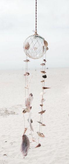 shell + glass wind ornament