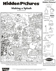 Click each link below to access activities that will provide hours of fun for students. More Printable Work Sheets . Hidden Picture Games, Hidden Picture Puzzles, Hidden Object Puzzles, Hidden Objects, Find Objects, Fall Coloring Pages, Coloring Books, Worksheets For Kids, Math Worksheets