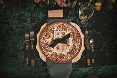 patterned china + velvet table linens