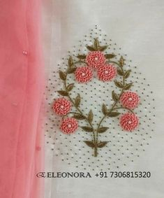 Embroidery patterns hand simple fabrics New ideas Zardosi Embroidery, Embroidery On Kurtis, Hand Embroidery Dress, Kurti Embroidery Design, Hand Embroidery Videos, Beaded Embroidery, Embroidered Blouse, Embroidery Needles, Crewel Embroidery