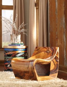 Shop the Phillips Collection Smooth Rustic Lodge Brown Chamcha Wood Living Room Chair and other Living Room Chairs at Kathy Kuo Home