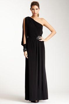 Eliza J Black One Shoulder Full Length Dress Gown