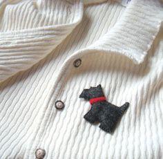 Scottish Terrier Felt Brooch Black Scottie Scotty dog by mikaart, $11.99