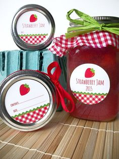 Gingham Strawberry Canning jar labels round red cottage chic mason jar stickers, CanningCrafts, Etsy $4