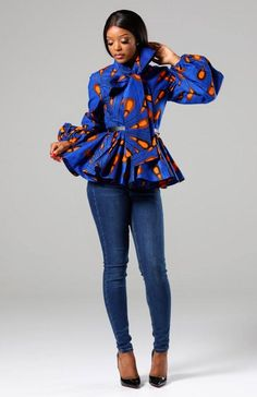 1f61b3af169e1 ELLA African Print Pussybow Peplum blouse Daniella African Print Ruffle  Tiered Sleeve Wrap Top – L