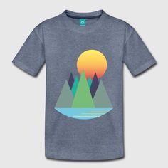 Berge - Sonnenaufgang - Wanderlust Teenager Premium T-Shirt Sonne Illustration, Wanderlust, Berg, Logos, T Shirt, Rising Sun, Sunrise, Landscape, Fall
