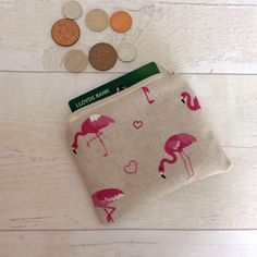 Your place to buy and sell all things handmade Small Makeup Bag, You Loose, Change Purse, Pink Flamingos, Zipper Pouch, Printing On Fabric, Christmas Stockings, Coin Purse, Polka Dots
