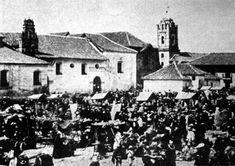 1863, Iglesia Veracruz y la 3era. Mercado publico, plazuela de San Francisco - Bogotá, Colombia