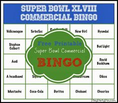 Love this Super Bowl party game, Super Bowl commercial bingo with free printable bingo cards