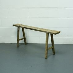 Rustic solid wooden bench, very versatile. Can be used at a table, or alternatively, is a great piece of furniture for a hallway or kitchen. These small signs of wear are normal and appropriate to their authenticity. Rustic Outdoor Benches, Rustic Side Table, Rustic Bench, Modern Side Table, Small Garden Bench, Small Bench, Beer Table, A Table, Country Style Furniture