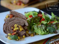 Southwest Flank Steak Pinwheels | Once A Month Meals | Freezer Cooking | OAMC