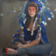 Sophie MORISSE , Coiffe bleue aux mésanges, 100 x 100 cm, huile sur toile