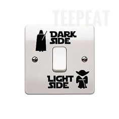 Shop for Epic Modz Star Wars Light Side Dark Side Light Switch Vinyl Decal Sticker, Black. Starting from Choose from the 2 best options & compare live & historic tool prices. Star Wars Vinyl, Star Wars Stickers, Disney Wall Stickers, Childrens Wall Stickers, Light Side, Dark Side, Decoracion Star Wars, Lampe 3d, Casa Disney