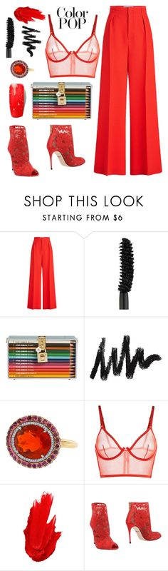 """""""It's all about the RED!"""" by juliedebbas ❤ liked on Polyvore featuring Roland Mouret, Clé de Peau Beauté, Dolce&Gabbana, Irene Neuwirth, La Perla, Maybelline and statementcoats"""