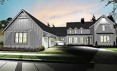 This 4 bedroom modern day farmhouse plan gives you a master down layout with a wide-open floor plan. Huge porches front and back, and a third porch on the side, give you great spaces to enjoy the fresh air.The exterior features open, raked eaves, steep gable roofs, board and batten cladding.The great room has 2-story ceilings and is open to both the kitchen and dining room. The kitchen features a large island with workspace and seating and a walk-in pantry.Upstairs, three bedrooms share…