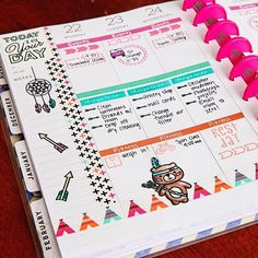 Planner Page by designer Meredith Ensell using the Sweet Stamp Shop Adventure Awaits, Plan Fitness and Basic Tabs stamp sets
