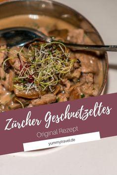 Dieses leckere Rezept für Zürcher Geschnetzeltes mit Pilzen habe ich auch der Schweiz mitgebracht. Probier es mal aus und lerne das Schweizer Essen kennen. Soße | Schweizer Küche  | Einfaches Rezept | Schnelles Rezept | Schweizer Küche | Schweiz Essen | Essen Rezepte | Abendessen | herzhaft | Mittagessen