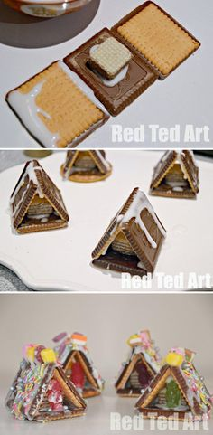 Mini Gingerbread houses.....they don't fall over as easy and in the end, your little one will have a house they are proud of and is SO YUMMY!