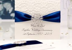 Handmade Sapphire Wedding Anniversary cards with the luxury touch. Sapphire is the gemstone for the 45th anniversary and also the 65th wedding anniversary which is Star-Sapphire - a blue sapphire stone similar to the Sapphire anniversary