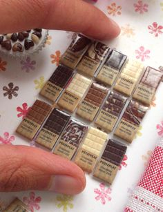 Miniature Chocolate Bars 1/12 Dollhouse Scale by PetitPlat